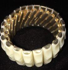 Vintage Ivory Look Bracelet Stretch Bangle Gold Tone Stamped/Signed Hong Kong