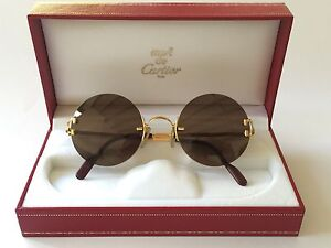1d144d509290 VINTAGE CARTIER MADISON ROUND GOLD 49MM BROWN LENS FRANCE SUNGLASSES ...