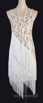 1920's Flapper Great Gatsby Clubwear Party Sequin & Tassel Blue Dress  SCG 3226