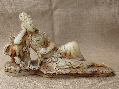 "11/"" China Collect Old White Jade hand Carved sleep Sakyamuni Buddha statue"