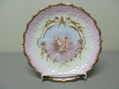 BEAUTIFUL ANTIQUE LIMOGES FRANCE PORCELAIN CABINET PLATE, GILDED w CHERUBS #10