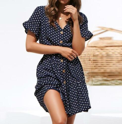 Womens Short Sleeve Boho Polka Dot V Neck Irregular Dress Summer Beach Sundress