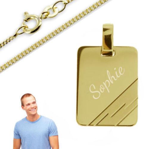 Colgante grabado placa anillos reales oro Cadena y grabado 333-Inkl.Silber