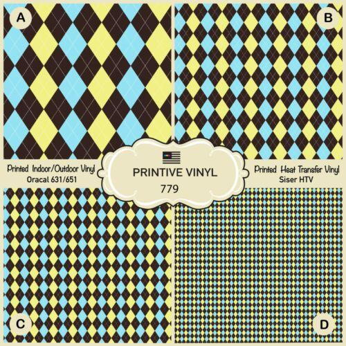 Checked Argyle Pattern Printed HTV Adhesive Vinyl Heat Transfer Vinyl 779