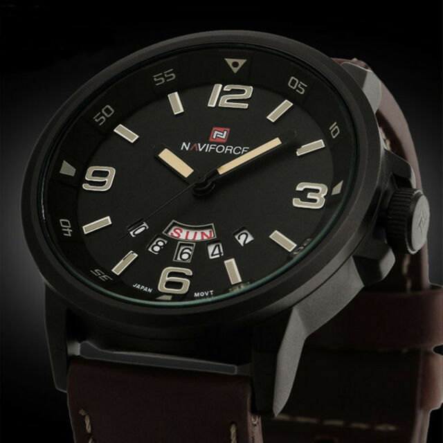 Men Analog Quartz Date Sport Army Military Leather Wrist Watch Waterproof Watch