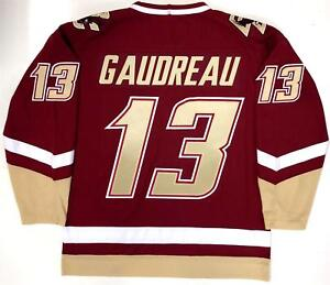 separation shoes e6bde ff8c0 Details about JOHNNY GAUDREAU BOSTON COLLEGE EAGLES UNDER ARMOUR MAROON  JERSEY CALGARY FLAMES