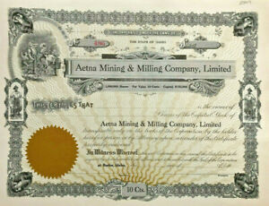 Aetna Mining & Milling Company > Burke Idaho stock certificate