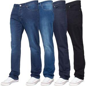 Enzo-Mens-Stretch-Straight-Leg-Jeans-Regular-Fit-Black-Blue-Trousers-Denim-Pants