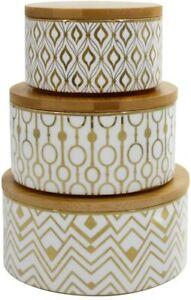 LA-JOLIE-MUSE-Porcelain-Geometric-Decorative-Canister-Set-of-3-with-Lids-NEW
