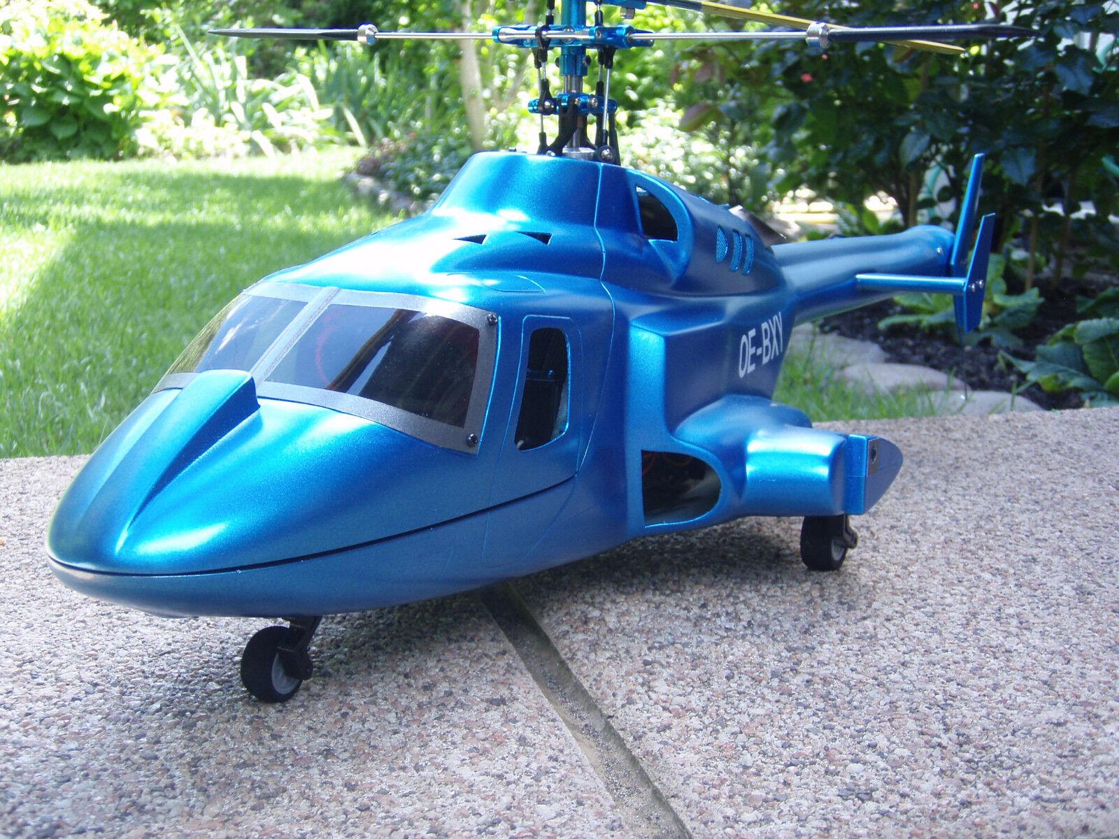 Bell 222/Airwolf/METALLIC BLU incl. 450er meccanica-RTF con trasmettitore