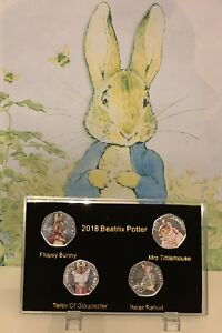 2018-Beatrix-Potter-50p-coin-Display-Case-NO-COIN-With-Double-Side-Prints-stand