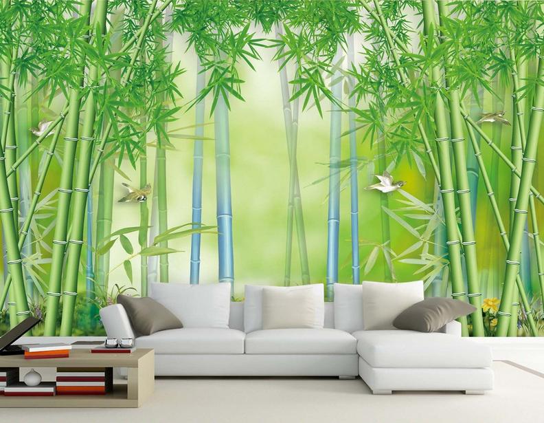 3D Grüner Bambus Vogel 85 Tapete Wandgemälde Tapete Tapeten Bild Familie DE