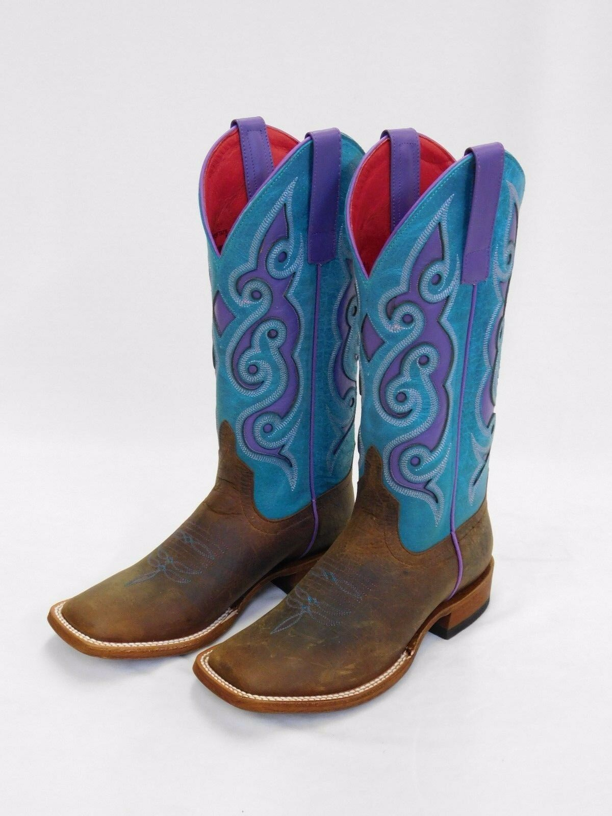 Women's Macie Bean Brown Sq Toe Boots-Turquoise Purple Tops M9076