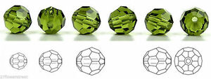 Czech Glass Machine Cut Faceted Round Crystal Beads, Olivine, olive green color