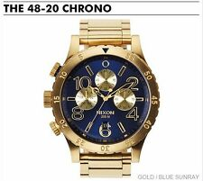 Nixon Men's A4861922 48-20 Chrono Gold / Blue Sunray Chronograph Watch