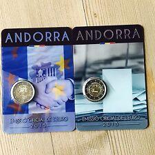 SET ANDORRA 2x 2 Euro Gedenkmünzen Andorra 2015 Volljährigkeit & Zollunion