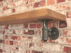 Tee Nut Style Steel Pipe Industrial Shelf Support Bracket 1 Pair DIY - Vintage
