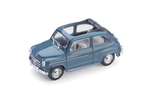 Fiat 600D Trasformabile Open Roof 1960 Blue 1:43 Model BRUMM