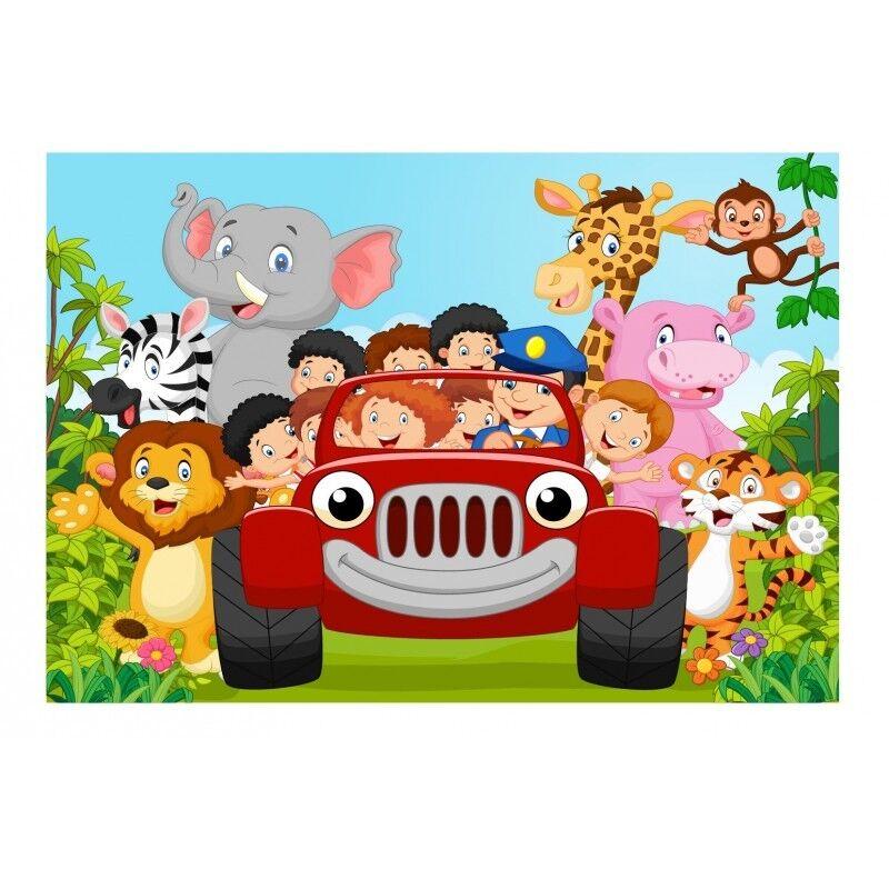 Adesivi Murale Bambino Gigante Auto Animali Jungle 15217+