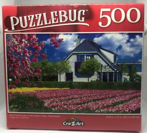 PUZZLEBUG Dutch Farmhouse in Tulip Fields Netherlands 500 Piece Puzzle Leiden