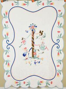 Wonderful Vintage 30's Maypole Pictorial Applique Crib Quilt ~Tulip Border!