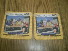 LOT OF TWO TWISTED TEA DRINK COASTERS WORTON MD. TWISTED CRABFEST