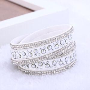 White-amp-Silver-Rhinestone-Vegan-Leather-Bracelet