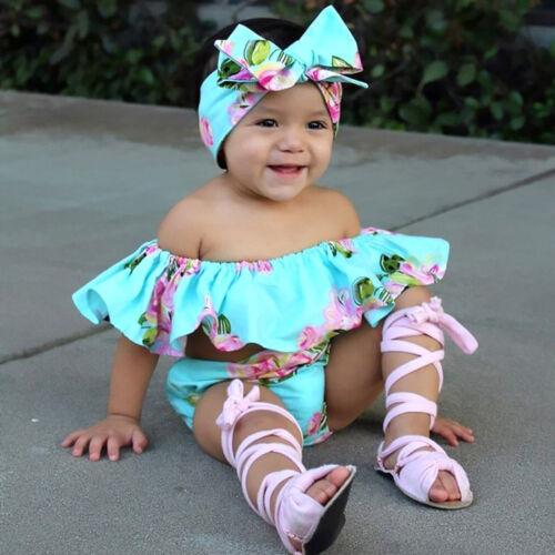 3PCS Summer Toddler Kids Baby Girl Off Shoulder Floral Tops+Short Pants+Headband
