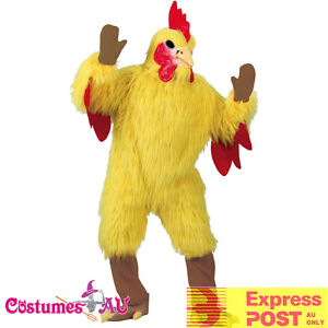 Mens-Chicken-Costume-Adults-Yellow-Rooster-Mascot-Animal-Party-Hens-Fancy-Dress
