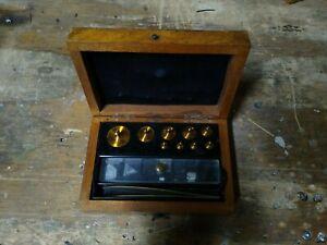 8-Vintage-Antique-Brass-Balance-Scale-Weights-with-Original-Wooden-Box
