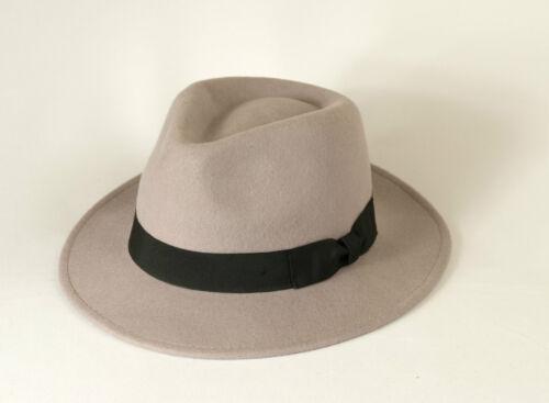Gamble /& Gunn Light Grey Fedora 100/% Pure Wool Felt Classic Vintage Style