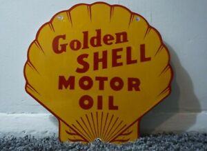 VINTAGE-SHELL-PORCELAIN-SIGN-GAS-MOTOR-OIL-STATION-PUMP-CLAM-GASOLINE-AD-PUMP