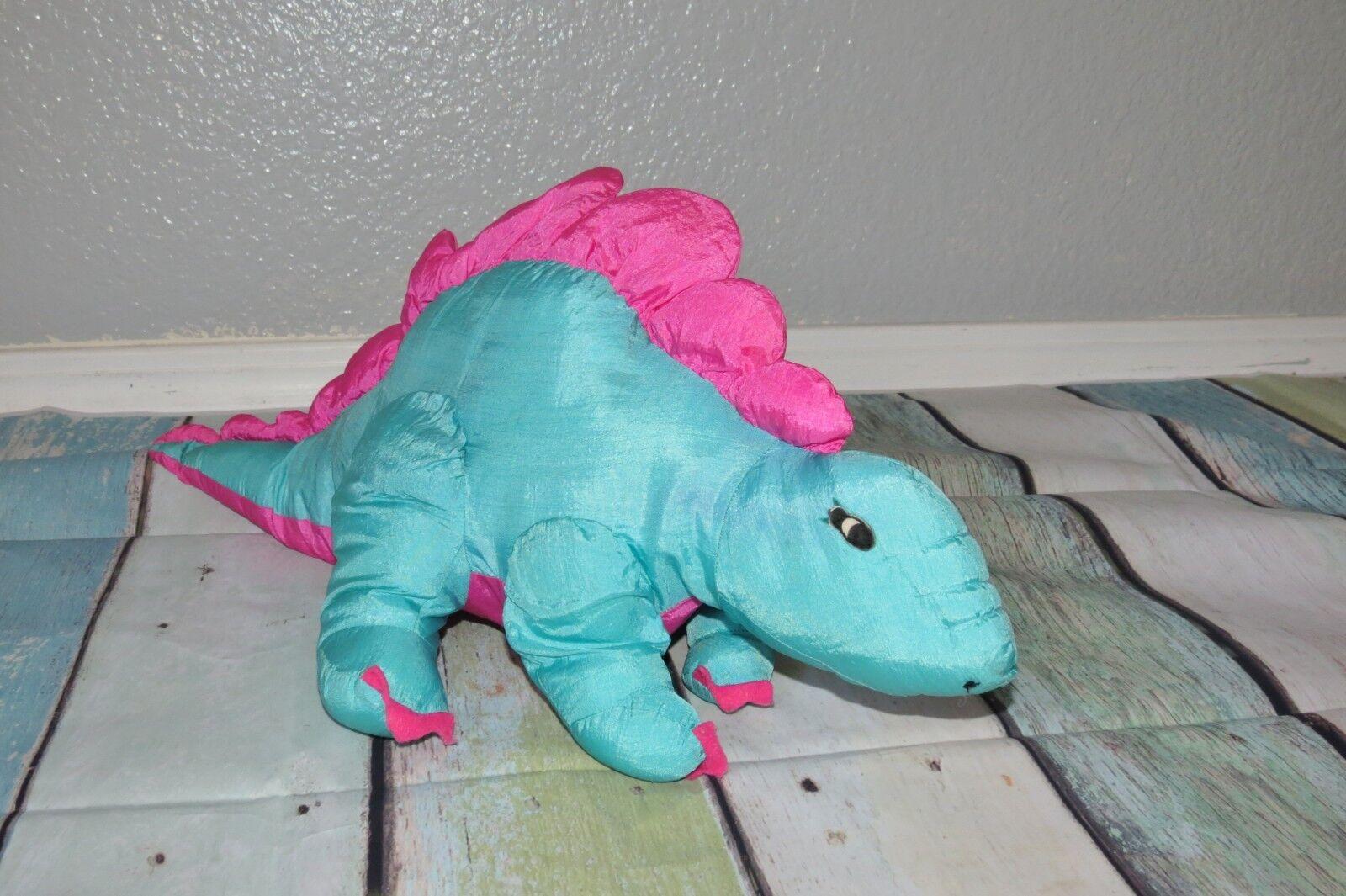 Prestige Dinosaur Stegosaurus blu Nylon NE-ANIMALS Squeaker Plush Toy 20  VTG