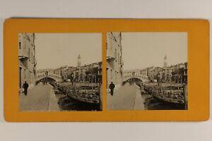 Italia Venezia Animato Grand Canal c1900 Foto Stereo Vintage Analogica