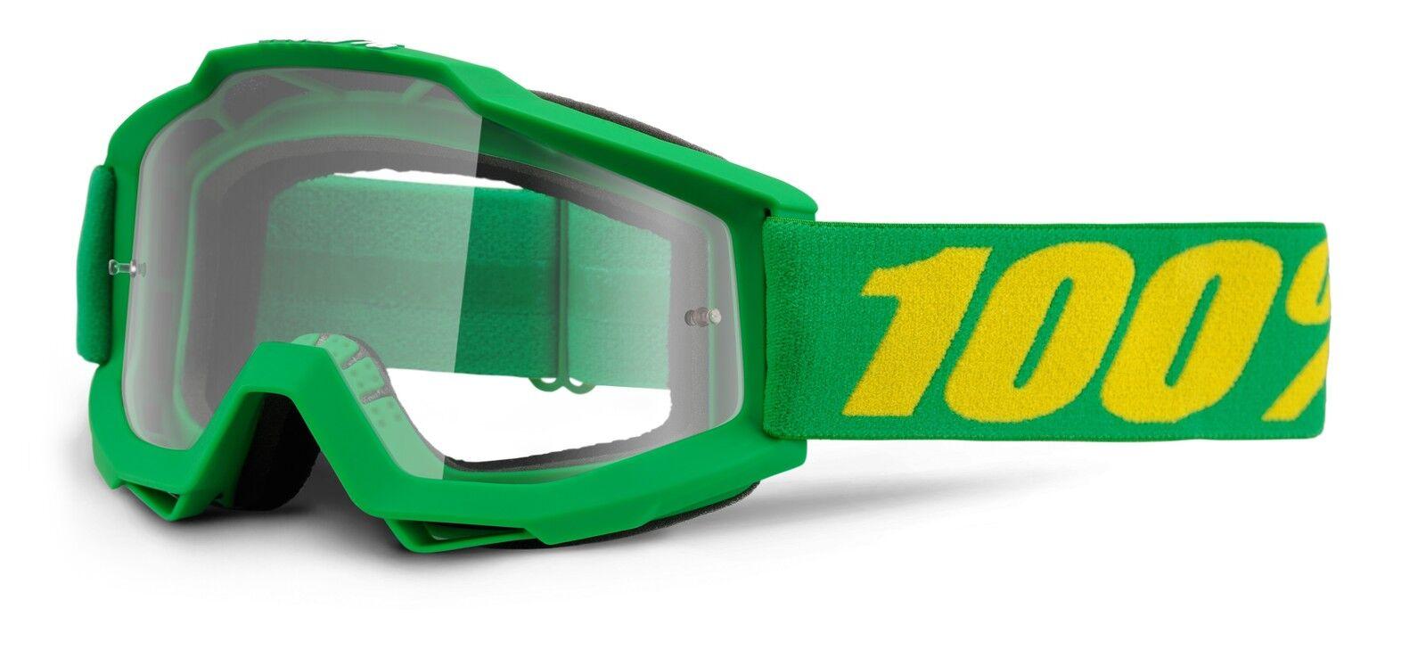 100% Por Cien MX Motocross Gafas Accuri FORREST TRANSPARENTE ENDURO MTB