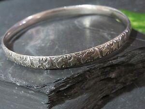 Massiver-Silber-Armreif-Struktur-Muster-Blaetter-Jugendstil-Art-Deco-Floral-Edel