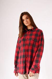 Vintage-Kariert-Flanell-Shirt-Rot-L