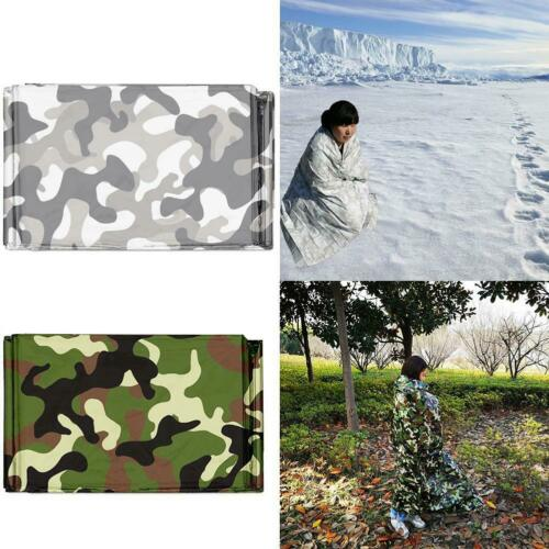 1PCS Camo Waterproof Emergency Survival Blanket Thermal First Hiking Campin V6Y4