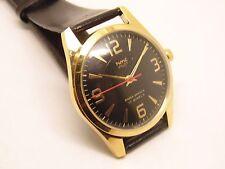 hmt pilot winding hand men's gold plated black dial vintage watch run order-56
