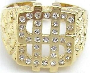 18K-GOLD-EP-ROUND-CUT-MENS-DIAMOND-SIMULATED-DOLLAR-RING-size-8-14-U-CHOOSE