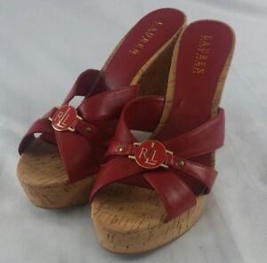 POLO RALPH LAUREN Red Wedge Sandals