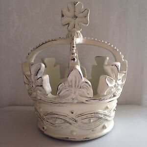 Large Shabby King Crown Off White Distressed Home Decor