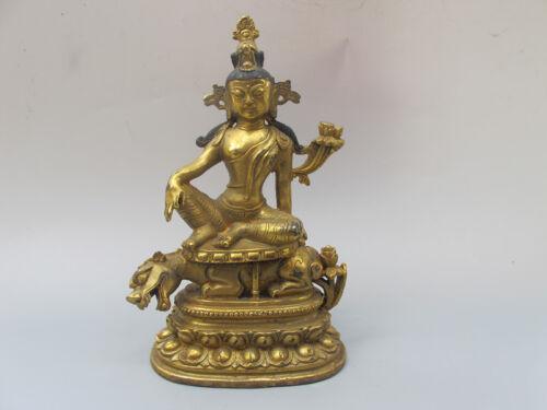 China antique bronze beast Tibetan Teaching Green Tara sitting statue Ornament