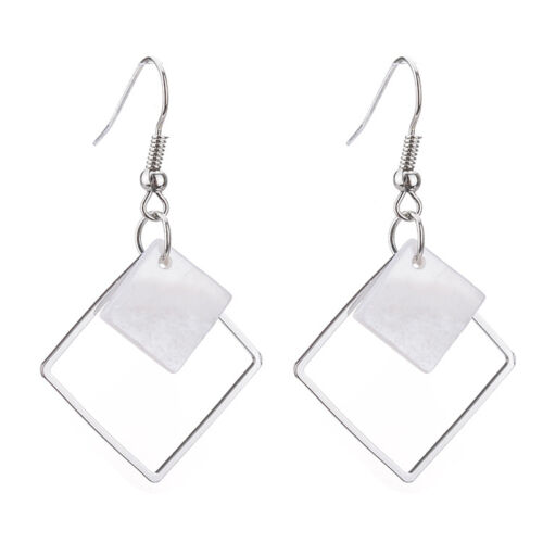 Bohemia femmes argent or creux Cube Shell Ear Drop Dangle Hoop Earring Jewelry