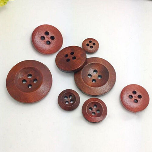 UK/_ 50Pcs 4 Holes Wooden Round Buttons Clothing Buttons DIY Sewing Craft Eager