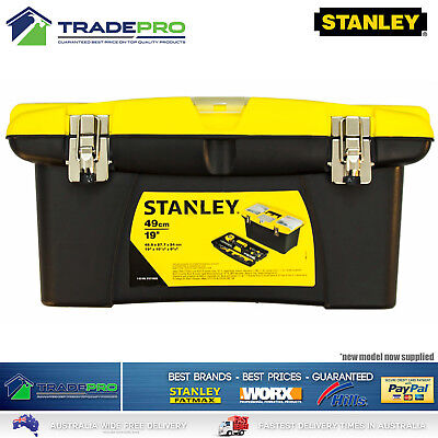 Stanley® Tool Box 48cm Easy Grip Removable Tray Metal Latches & Orgainiser