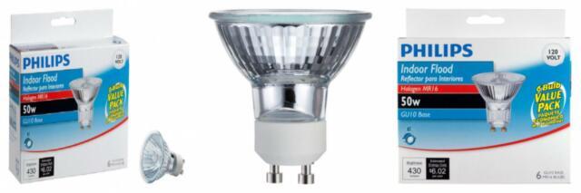 Halogen Flood Light Bulb MR16//FL//GU10 SIGALUX Halogen MR16 Shape GU10 6 Pack GU10 Base with a UV Glass Cover 120 Volt 6 Pack - 50 Watt