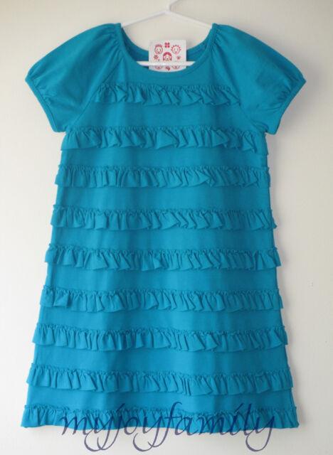 HANNA ANDERSSON Modern Stretch Ruffle Love Dress Folktale Teal 100 4T 4 NWT