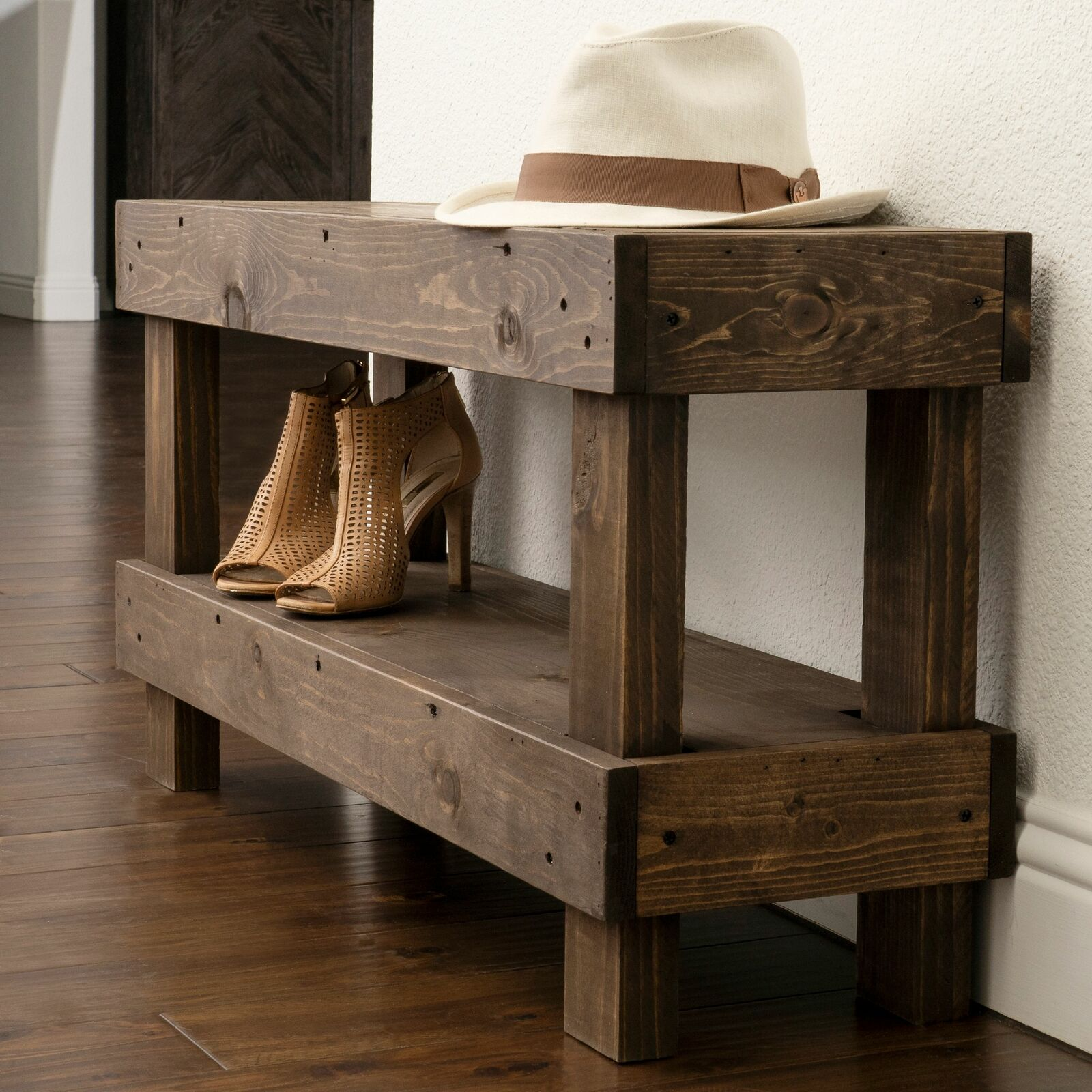 42 Modern Farmhouse Entryway Storage Bench Rustic Oak For Sale Online Ebay