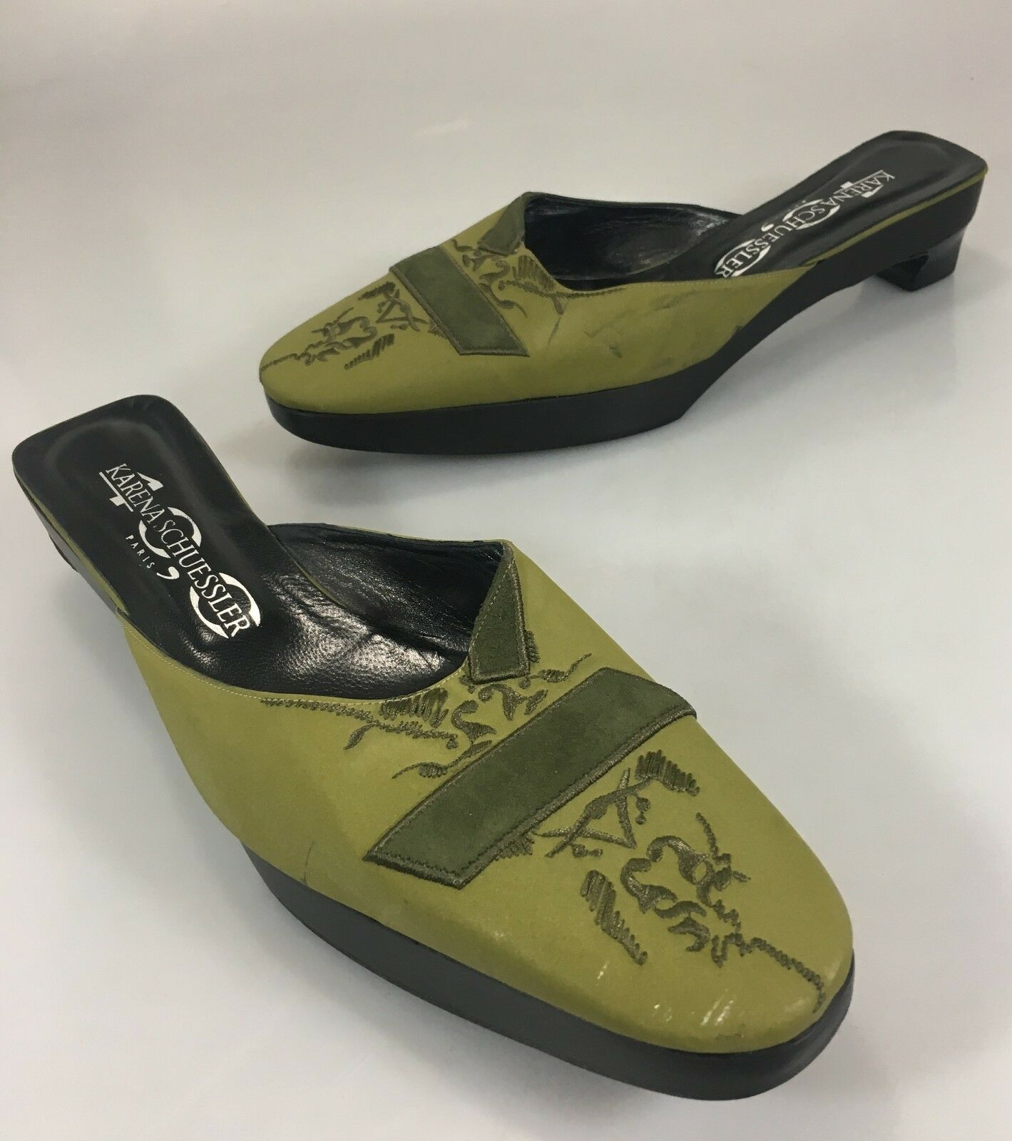 Karen Schuessler Paris Womens 40EU 10US Green Green Green Fabric 1  Heels Slides Mules shoes ddd3bb